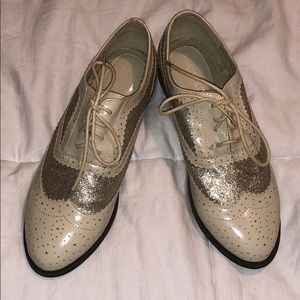 Gold and Nude patent oxford loafers